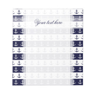 Nautical stripes and anchor pattern notepad
