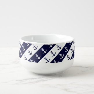Nautical stripes and anchor pattern soup mug