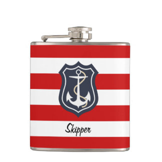 Nautical Stripes and Anchor with Monogram Hip Flask