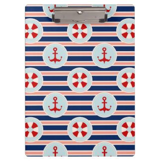 Nautical Stripes And Dots Pattern Clipboard