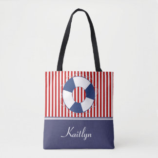 Nautical Stripes and Life Preserver | Personalized Tote Bag
