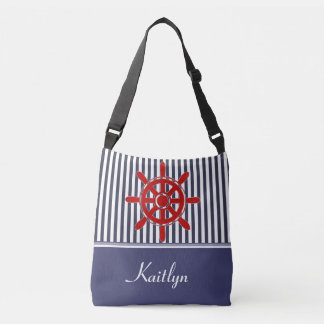 Nautical Stripes and Ship's Wheel | Personalized Tote Bag