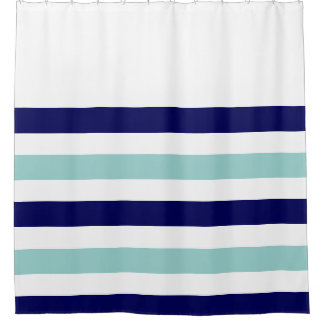 nautical stripes blue shower curtain