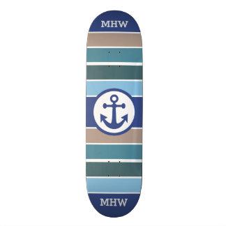 Nautical Stripes custom monogram skateboards