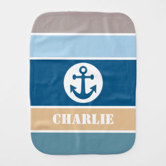 Nautical Stripes custom name baby burp cloth