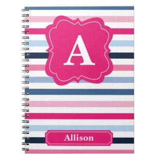 Nautical Stripes Monogram Spiral Notebook