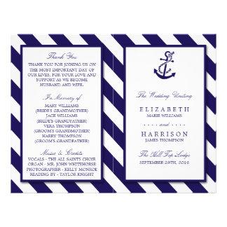 Nautical Stripes & Navy Blue Anchor Wedding 21.5 Cm X 28 Cm Flyer