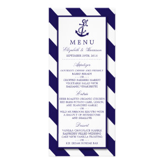 Nautical Stripes & Navy Blue Anchor Wedding Menu