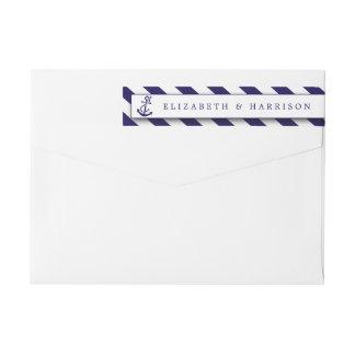Nautical Stripes & Navy Blue Anchor Wedding Wraparound Return Address Label