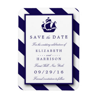 Nautical Stripes & Navy Blue Ship Save The Date Magnet