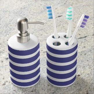 Nautical Stripes Soap Dispenser And Toothbrush Holder