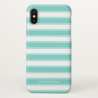 Nautical Stripes Turquoise Teal Personalized iPhone X Case
