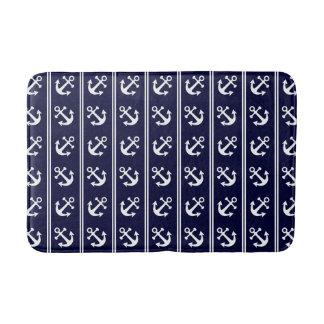 Nautical stripes with anchors bath mat