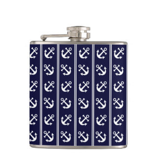 Nautical stripes with anchors hip flask