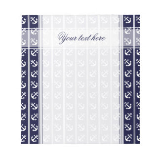 Nautical stripes with anchors notepad