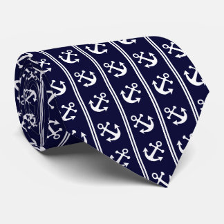 Nautical stripes with anchors tie