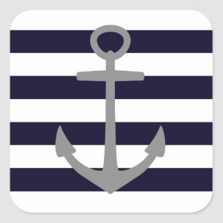 Nautical stripes with gray anchor square sticker