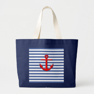 Nautical Stripes with Red Anchor Canvas Bag