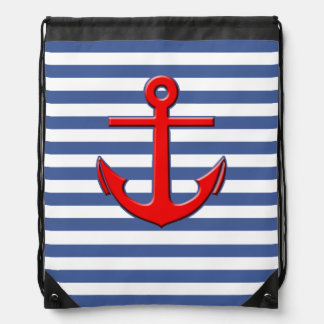 Nautical Stripes with Red Anchor Rucksack
