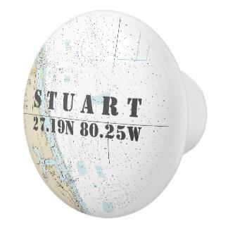 Nautical Stuart, Florida Latitude Longitude Chart Ceramic Knob