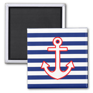 Nautical Style Anchor on Stripes Square Magnet