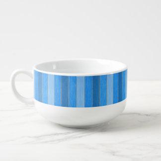 Nautical style blue painted wood soup mug