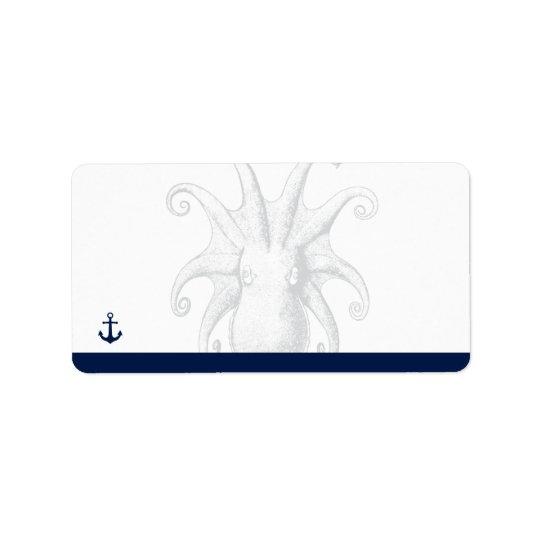 Nautical Style Octopus | Return Address Label