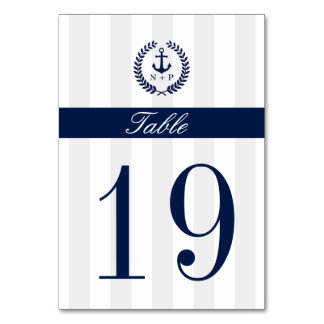 Nautical Style Wedding Table Number