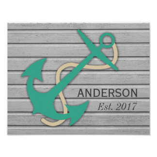 Nautical Style Your Family Name Poster