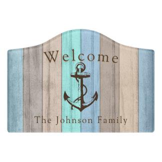 Nautical Summer Beach Wood Anchor - Welcome Door Sign