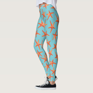 Nautical Summer Red Starfish Leggings