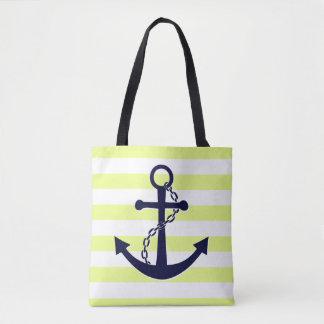 Nautical Sun Yellow Striped Navy Blue Anchor Beach Tote Bag