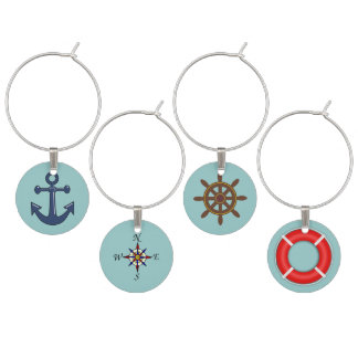 Nautical Symbols Wine Charm