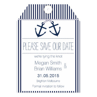 Nautical Tag Save The Date Card