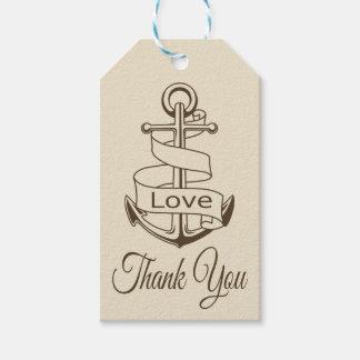 Nautical Tan Brown Ship Anchor Thank You Wedding Gift Tags
