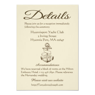 Nautical Tan Directions Details Wedding Anchor Card