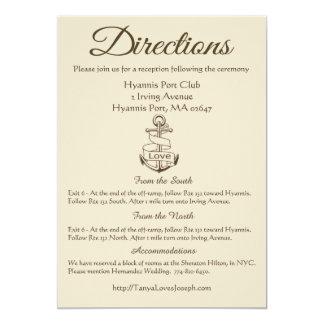 Nautical Tan Ship Anchor Wedding Details Brown Card