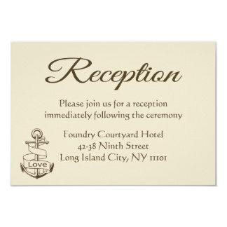 Nautical Tan Wedding Reception Ship Anchor Brown Card