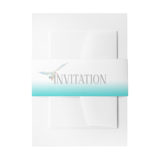 Nautical Teal Sea Breeze Gradient with Seagull Invitation Belly Band