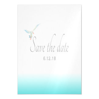 Nautical Teal Sea Breeze Gradient with Seagull Magnetic Card