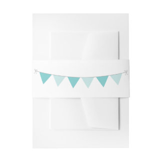 Nautical Teal Sea Breeze with Bunting Invitation Belly Band