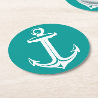 Nautical Teal & White Ship Anchor Beach Party Round Paper Coaster
