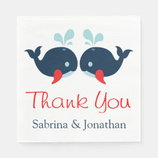 Nautical Thank You Navy Red Whales Wedding Beach Paper Napkins