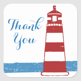 Nautical Thank You Red Lighthouse Blue Ocean Square Sticker