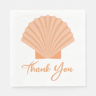 Nautical Thank You Seashell Orange Wedding Party Paper Napkin