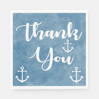 Nautical Thank You Ship Anchor Blue Watercolor Disposable Napkin