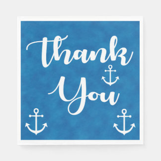 Nautical Thank You Ship Anchor Blue Watercolor Paper Napkins
