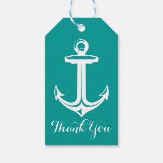 Nautical Thank You Ship Anchor Turquoise Teal Gift Tags