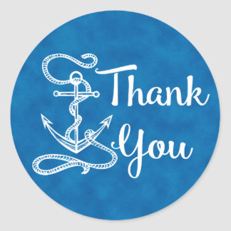 Nautical Thank You Ship Anchor Watercolor  Blue Classic Round Sticker