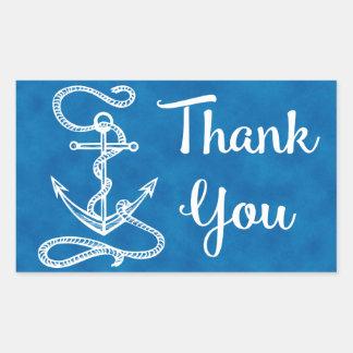 Nautical Thank You Ship Anchor Watercolor Blue Rectangular Sticker
